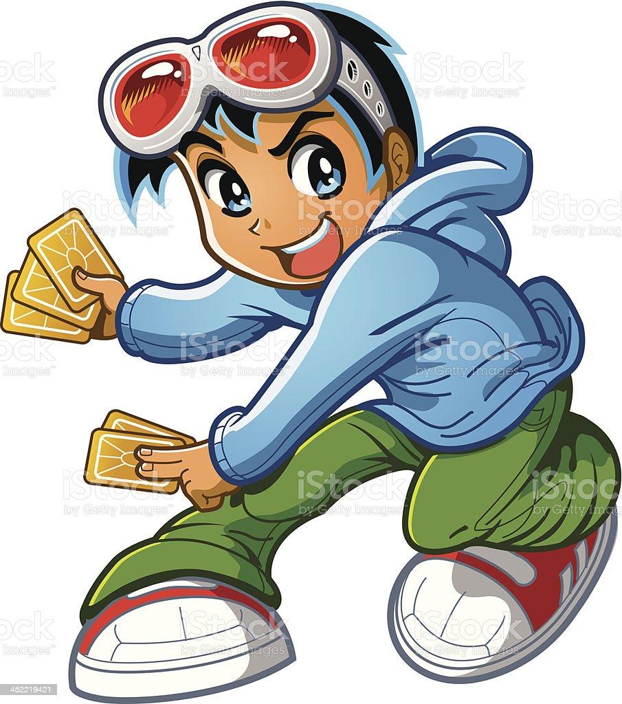 Anime Manga Boy Playing Card Game royalty-free stock vector art