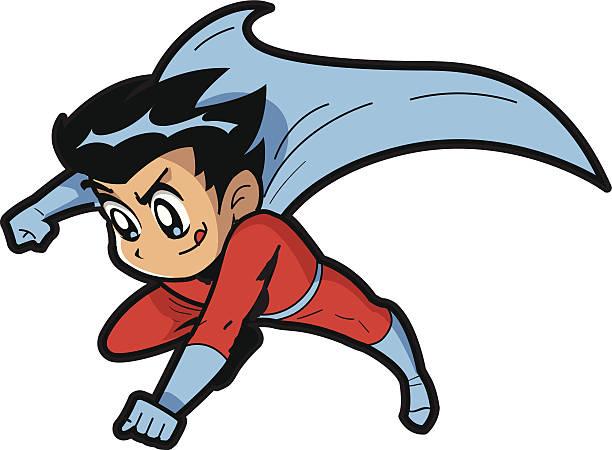 Anime Manga Boy Superhero vector art illustration