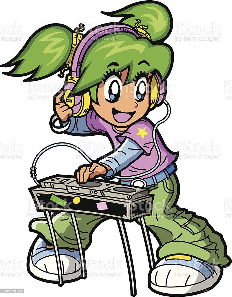 Anime Manga DJ vector art illustration