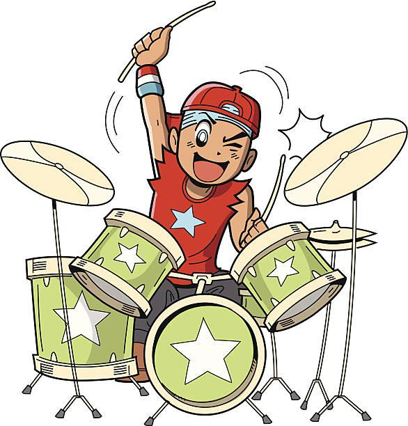 Anime Manga Drummer vector art illustration