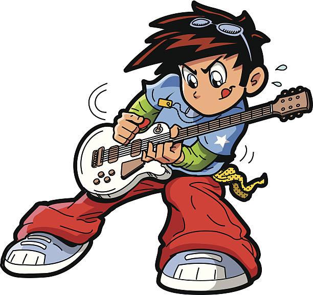 Anime Manga Guitar Player vector art illustration
