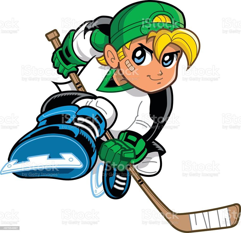 Anime Manga Hockey Player vector art illustration