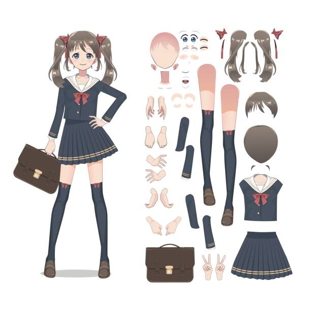 anime manga schoolgirl in a skirt, stockings and schoolbag. cartoon character in the japanese style. set of elements for character animation - anime girl stock illustrations