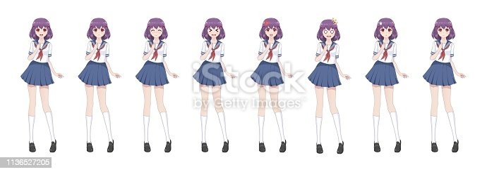 Anime manga girl, Cartoon character in Japanese style.School girl in a sailor suit, blue skirt.Set of emotions.Sprite full length character for game visual novel