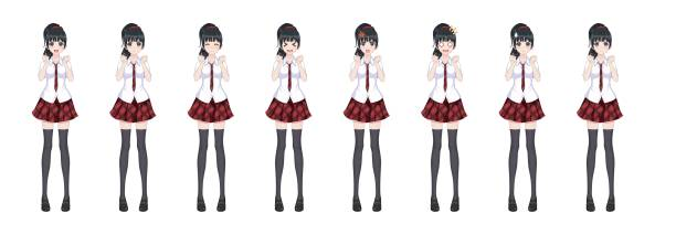 Anime manga schoolgirl plaid red skirt tie pattern Anime manga girl, Cartoon character in Japanese style. In a white shirt, a red skirt in a cage, a tie and black stockings-tights. Set of emotions. Sprite full length character for game visual novel japanese school girl stock illustrations