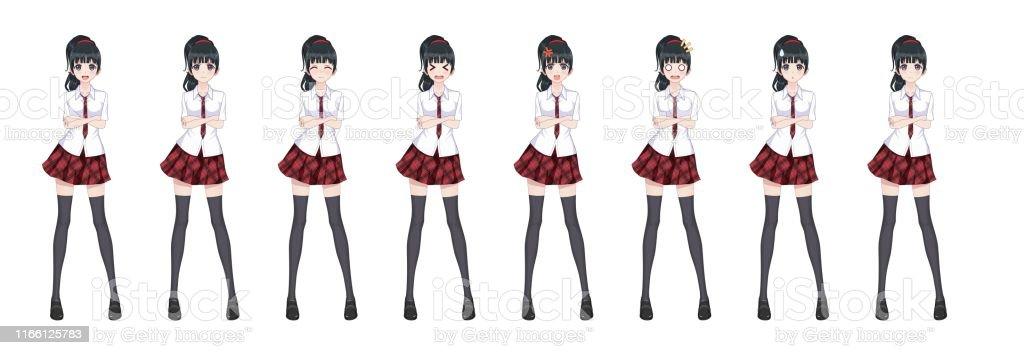Ilustración de Anime Manga Colegiala A Cuadros Falda Roja Modelo De Corbata y más Vectores Libres de Derechos de Adolescente