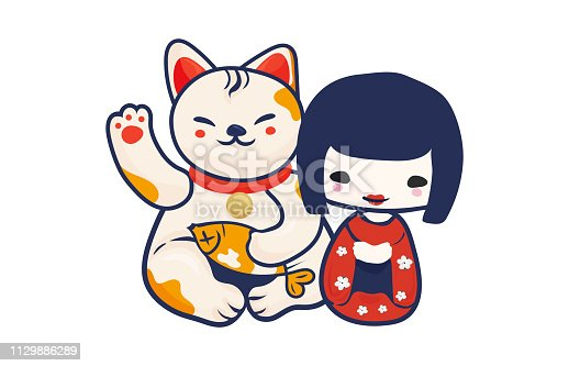 istock Anime Manga styled vector illustration: kawaii japanese teen girl and maneki neko lucky cat isolated. Cute Kokeshi doll and Maneki Neko beckoning kitty as a charm symbol of luck and Japan. 1129886289