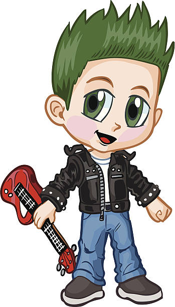 bildbanksillustrationer, clip art samt tecknat material och ikoner med anime punk rocker boy vector cartoon - happy indie pop