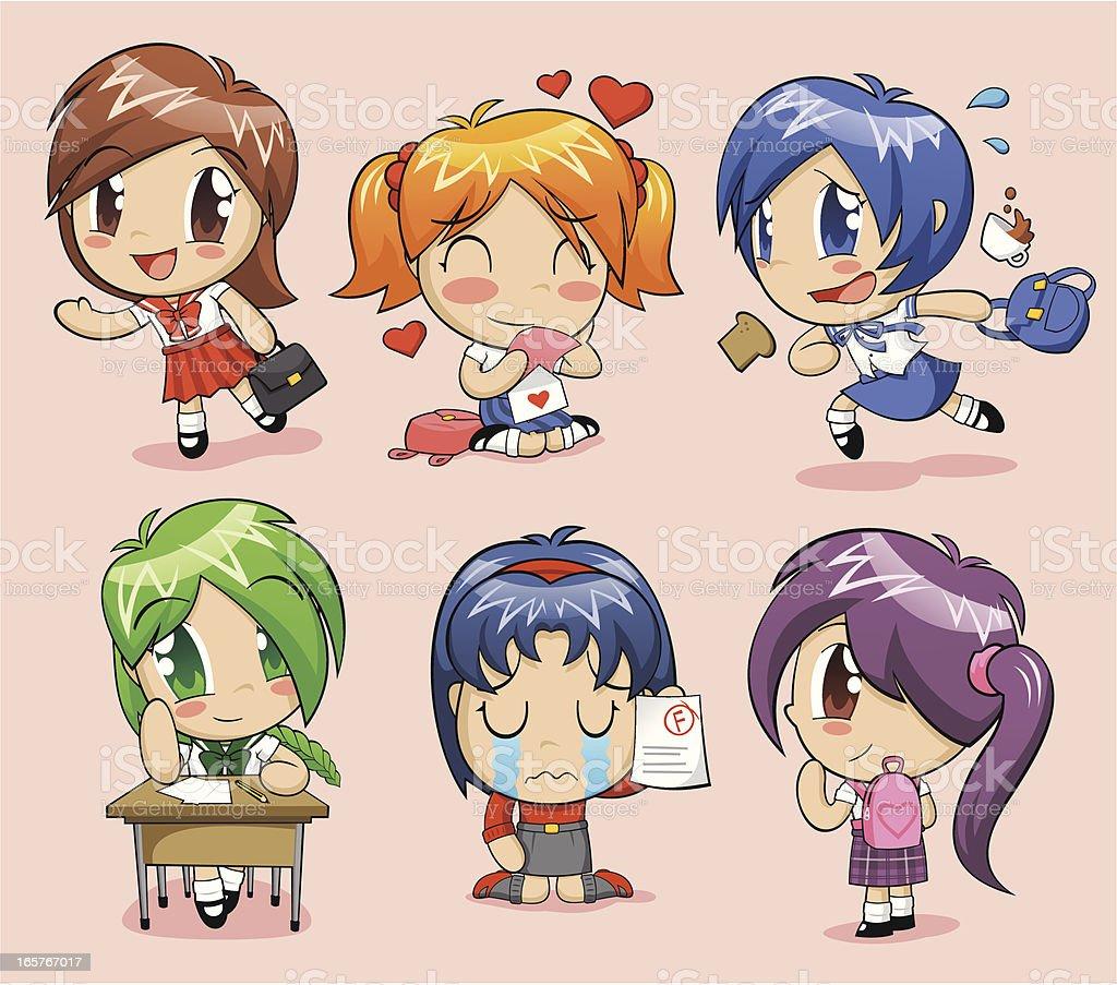 Anime schoolgirls royalty-free stock vector art