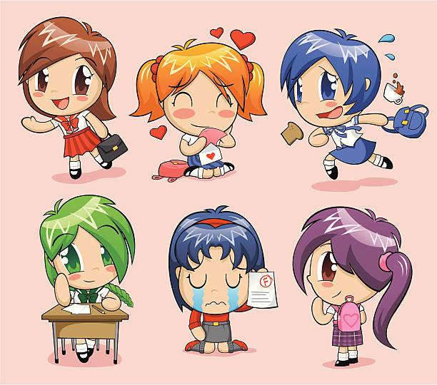 anime schoolgirls - brotzopf stock-grafiken, -clipart, -cartoons und -symbole