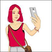 anime teen girl selfie with phone illustration