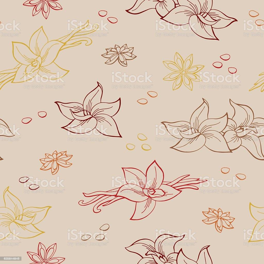 Anise vanilla graphic seamless pattern illustration vector vector art illustration