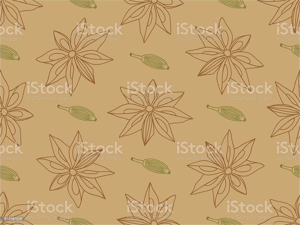 Anise with cardamom seamless pattern vector art illustration