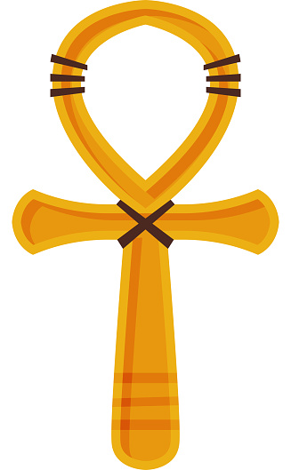 Ankh Cross, Ancient Religious Sign of Egypt Flat Style Vector Illustration on White Background