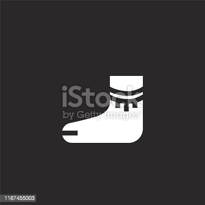 istock ankle brace icon. Filled ankle brace icon for website design and mobile, app development. ankle brace icon from filled hippies collection isolated on black background. 1167455003