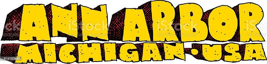 Ann Arbor, Michigan Text vector art illustration