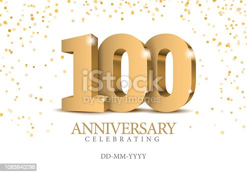 istock Anniversary 100. gold 3d numbers. 1083640298