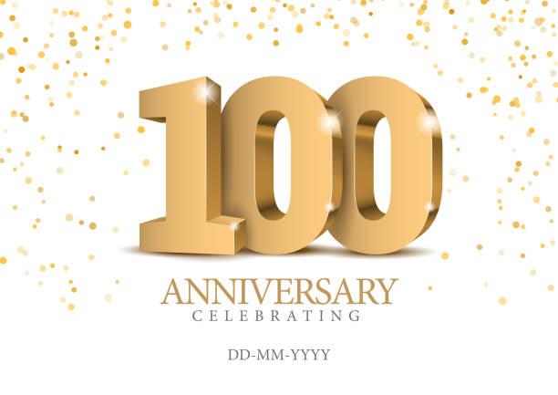 bildbanksillustrationer, clip art samt tecknat material och ikoner med 100-årsjubileum. guld 3d nummer. - nummer 100