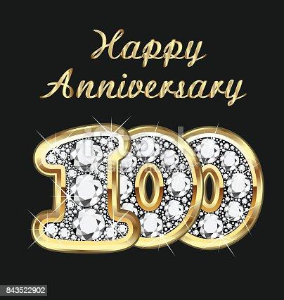 istock Anniversary 100th years birthday in gold and diamonds vector 843522902
