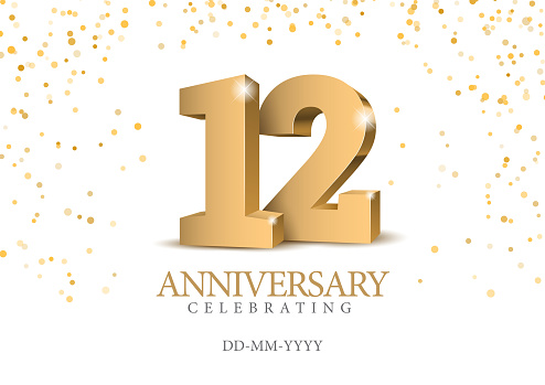 Anniversary 12. gold 3d numbers. Poster template for Celebrating 12th anniversary event party. Vector illustration