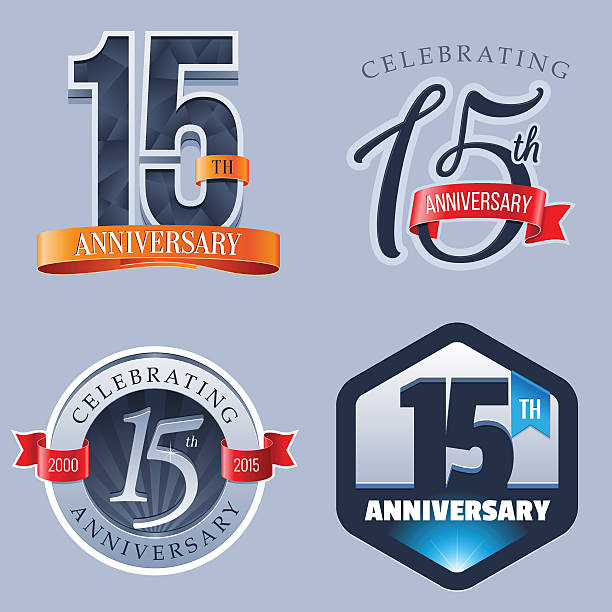 Anniversary - 15 Years A Set of Symbols Representing a Fifteenth Anniversary/Jubilee Celebration 14 15 years stock illustrations
