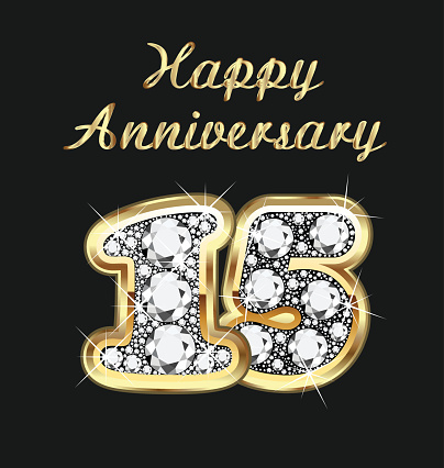 Anniversary 15th years birthday in gold and diamonds vector