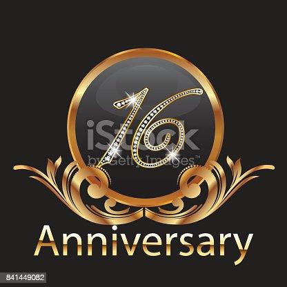 16 years anniversary birthday in gold vector image