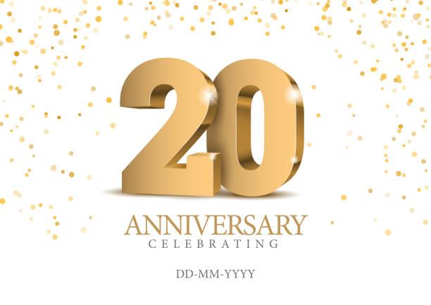 ilustraciones, imágenes clip art, dibujos animados e iconos de stock de aniversario 20. oro números 3d. - anniversary