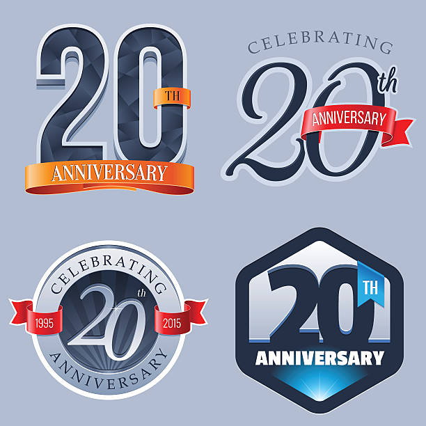 Anniversary - 20 Years A Set of Symbols Representing a Twentieth Anniversary/Jubilee Celebration 20 24 years stock illustrations
