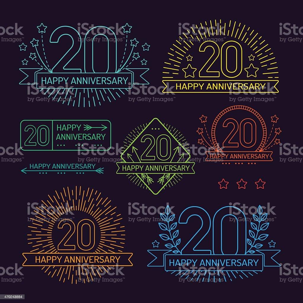 20. Jahrestag der Beschilderung Kollektion im Umriss-Stil – Vektorgrafik