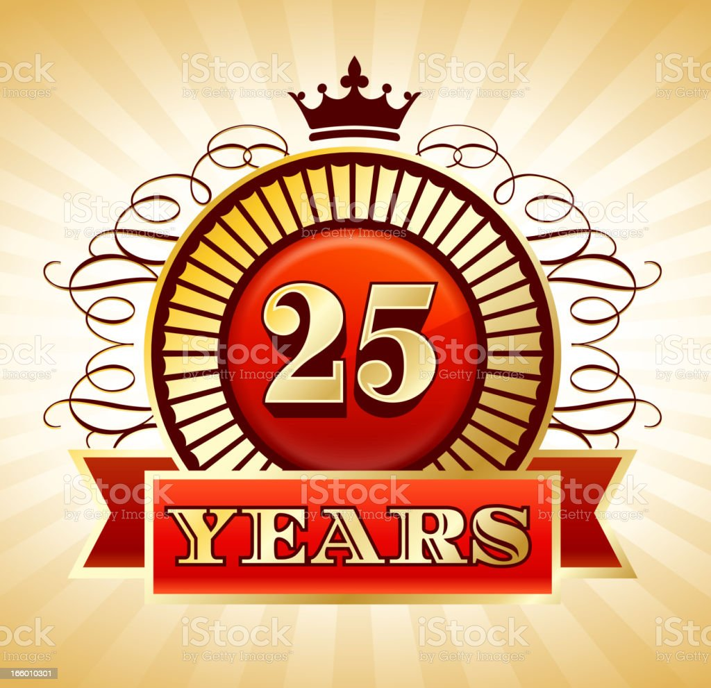 Anniversary 25 Years Badges Red and Gold Collection Background vector art illustration