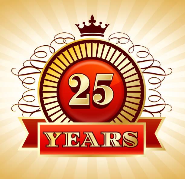 bildbanksillustrationer, clip art samt tecknat material och ikoner med anniversary 25 years badges red and gold collection background - 50 59 år