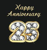Anniversary 25th years birthday in gold and diamonds vector
