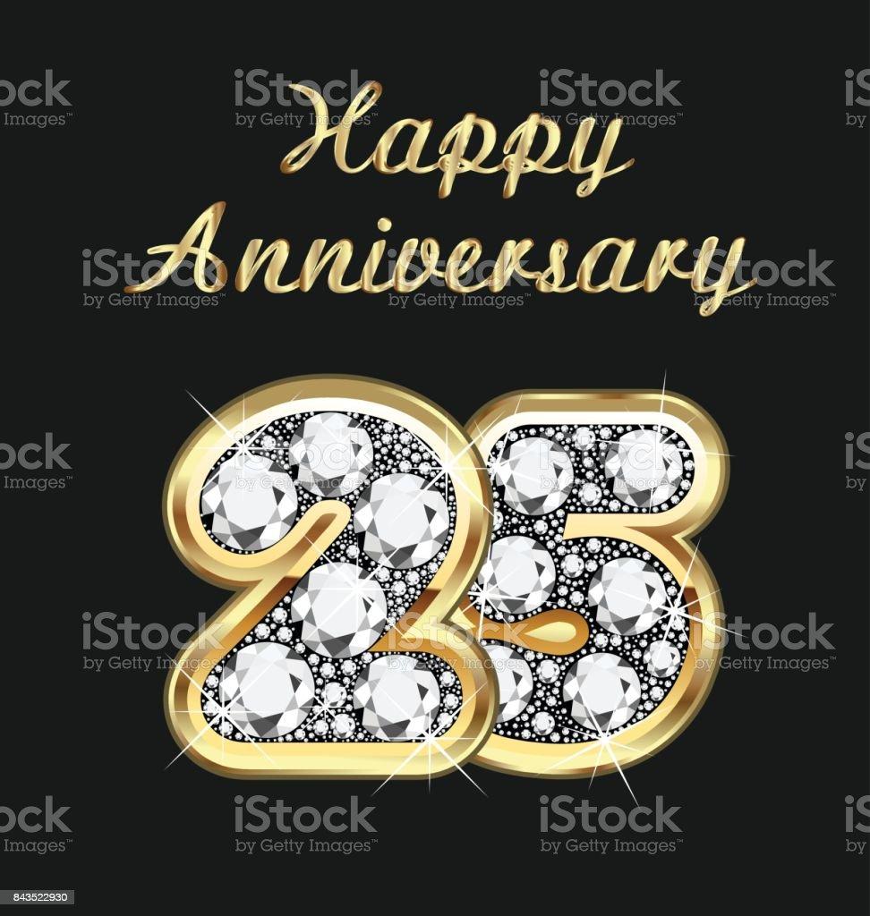 Jubiläum 25 Jahre Geburtstag in Gold und Diamanten Vektor – Vektorgrafik