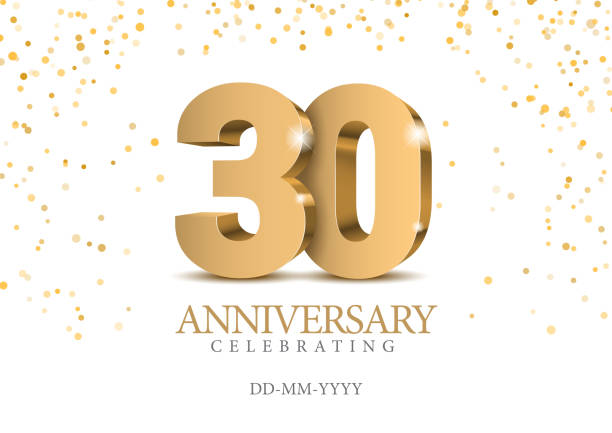 bildbanksillustrationer, clip art samt tecknat material och ikoner med jubileum 30. guld 3d nummer. - nummer 30