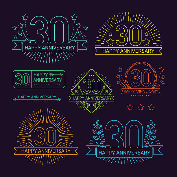 Anniversary 30th signs collection in outline style vector art illustration