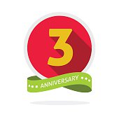 Anniversary 3rd logo template with a shadow on red circle and yellow number 3 three. 3 years anniversary icon. Three years symbol, second, promotion sticker ribbon, vector emblem