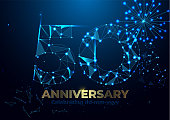 Anniversary 50. Geometric polygonal Anniversary greeting banner. gold 3d numbers. Poster template for Celebrating 50th anniversary event party. Vector fireworks background. Low polygon
