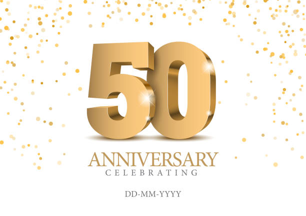 bildbanksillustrationer, clip art samt tecknat material och ikoner med 50-årsjubileum. guld 3d nummer. - talet 50