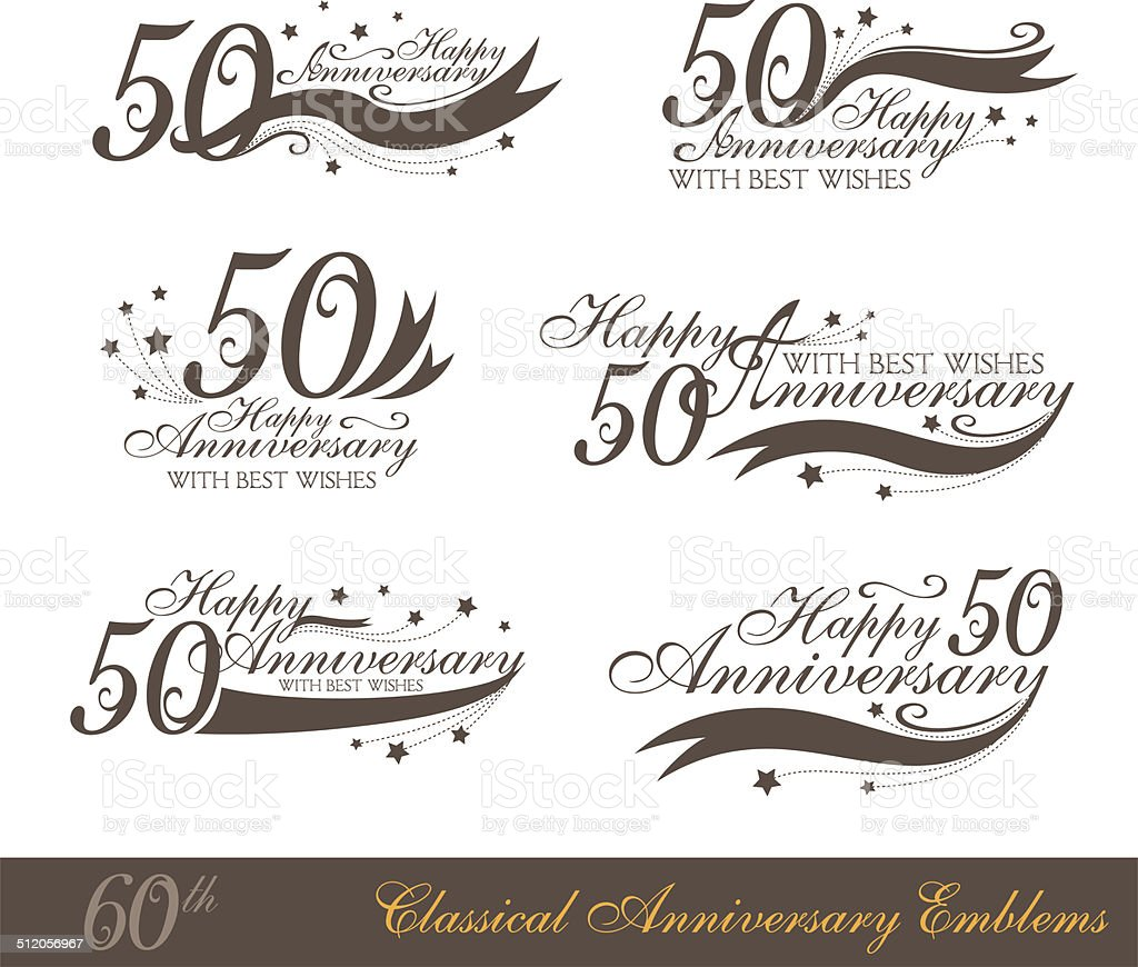 Anniversary 50th sign collection in classic style. vector art illustration