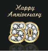 Anniversary 50th years birthday in gold and diamonds vector