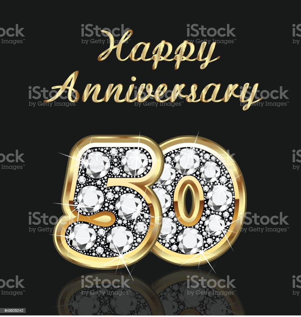 Anniversary 50th years birthday in gold and diamonds vector vector art illustration