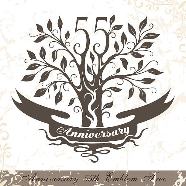 bildbanksillustrationer, clip art samt tecknat material och ikoner med anniversary 55th emblem tree in classic style. - 55 59 år