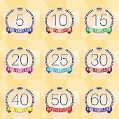 Anniversary. 5th, 10th, 20th, 25th, 30th, 50th, 60th