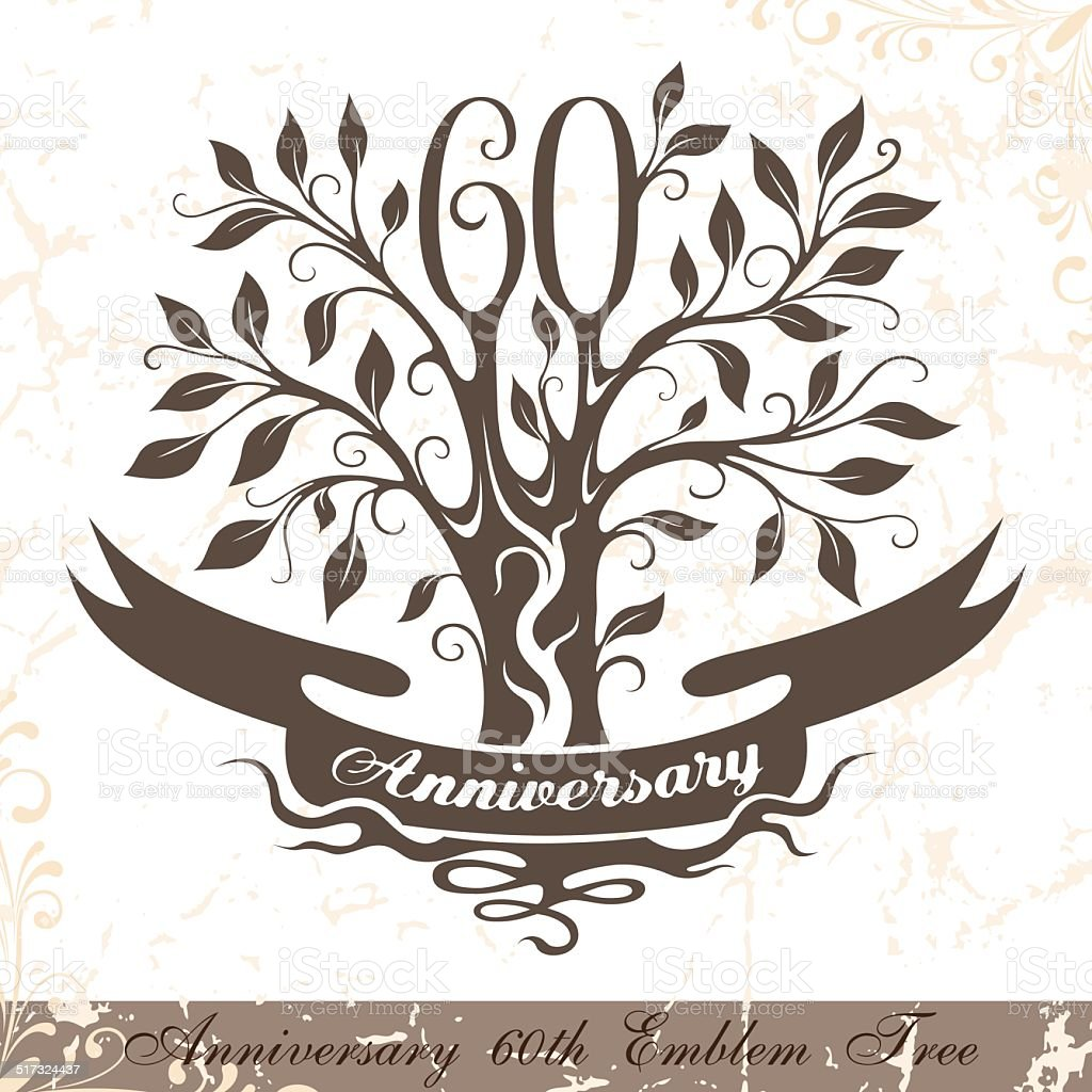 Anniversary 60th emblem tree in classic style. vector art illustration