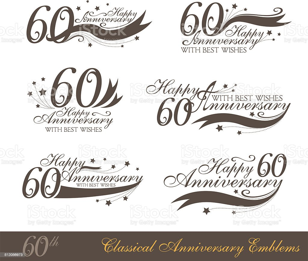 Anniversary 60th sign collection in classic style. vector art illustration