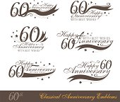 Anniversary 60th sign collection in classic style.