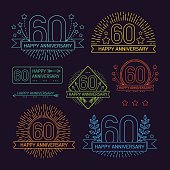 Anniversary 60th signs collection in outline style