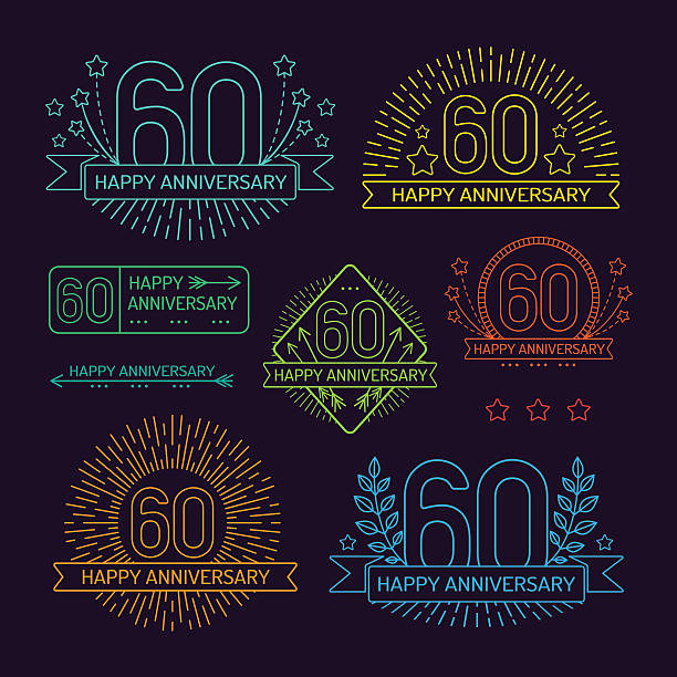 Anniversary 60th signs collection in outline style vector art illustration