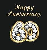 Anniversary 60th years birthday in gold and diamonds vector